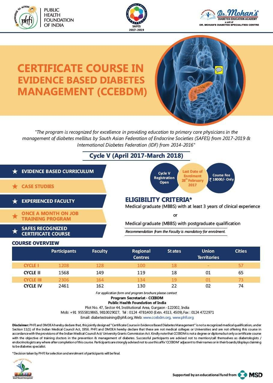 Certificate Course In Evidence Based Diabetes Management
