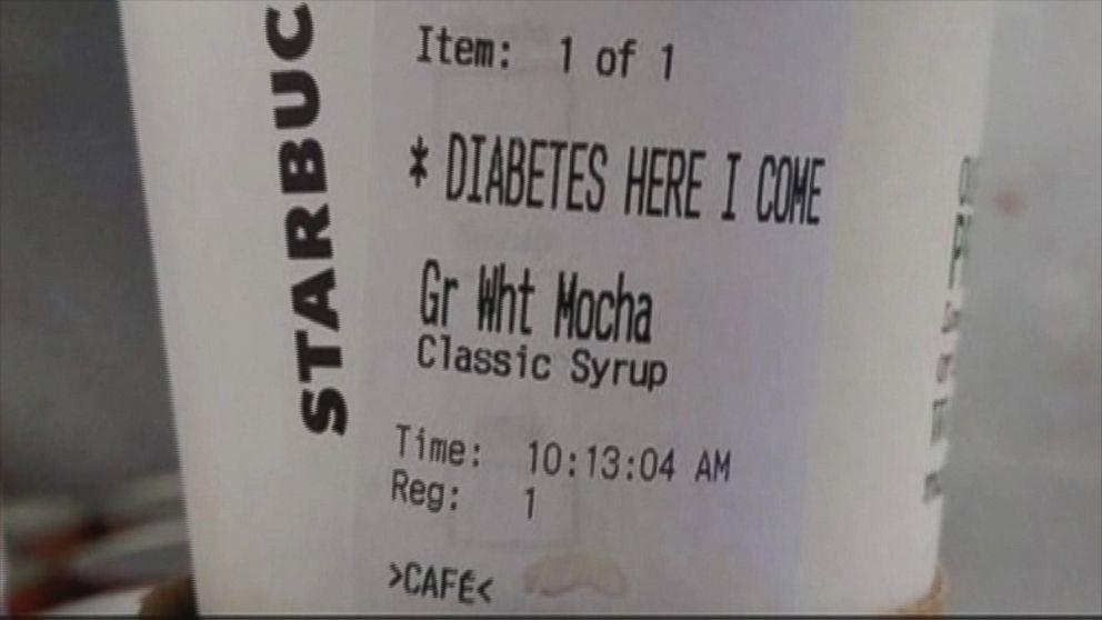 Starbucks Serves Man Beverage With Label 'Diabetes Here I Come'