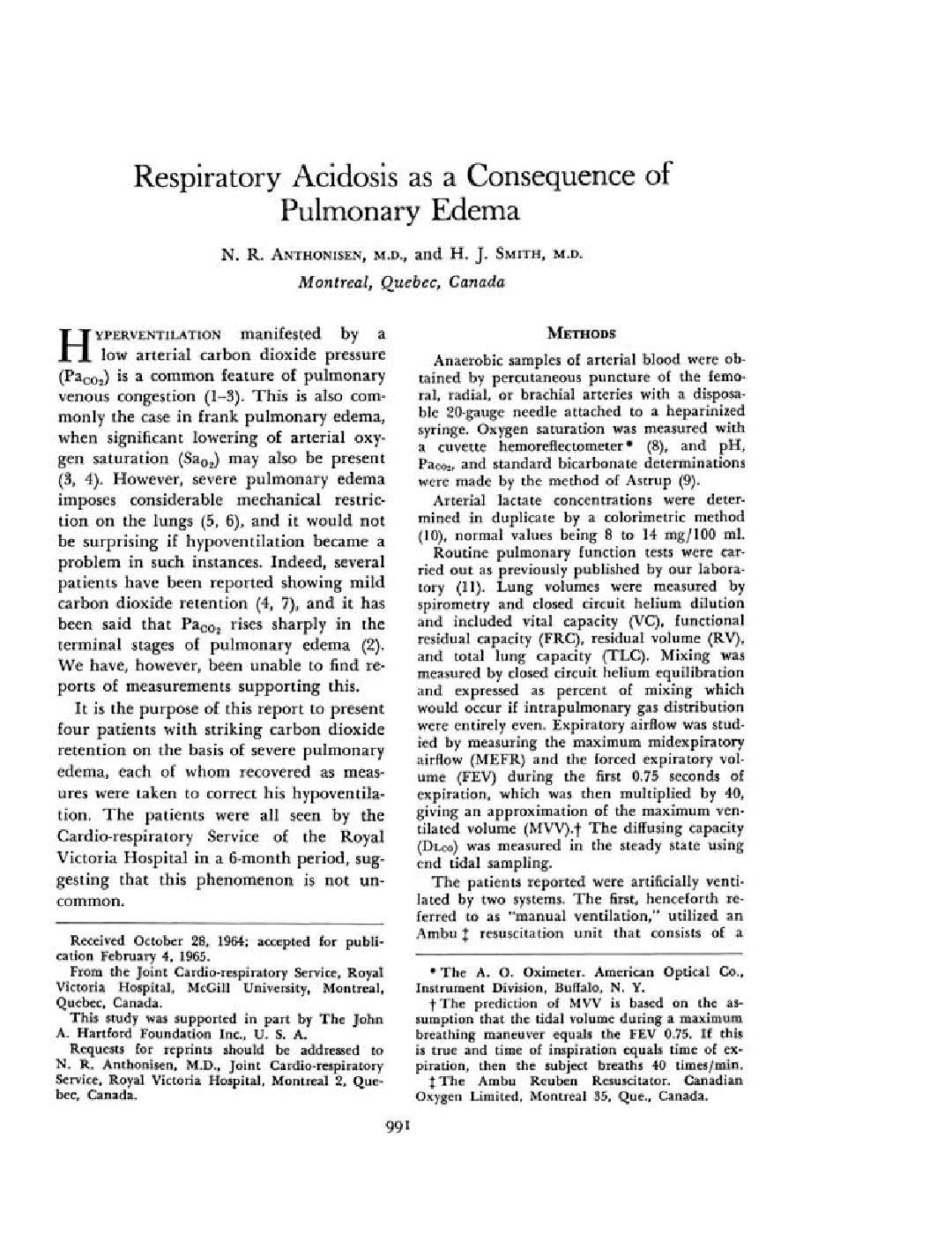 Respiratory Acidosis As A Consequence Of Pulmonary Edema